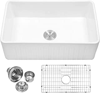 Sarlai 30 Inch Farmhouse Sink Apron Front White Ceramic Porcelain Vitreous Fireclay Single Bowl Kitchen Sink - SUC3018R1
