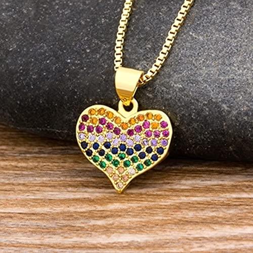 SONGK Colgante de corazón de Moda para Mujer, Collares de Cadena con Encanto, Amantes, Piedra de Cobre, joyería de arcoíris, Regalo de Boda