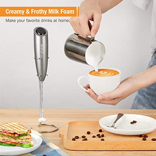 SIMPLETASTE Electric Milk Frother for Cappuccinos and Latte with Stainless Steel Whisk and Stand, Powerful Hand Blender for Bulletproof Coffee, Hot Chocolate and Drinks