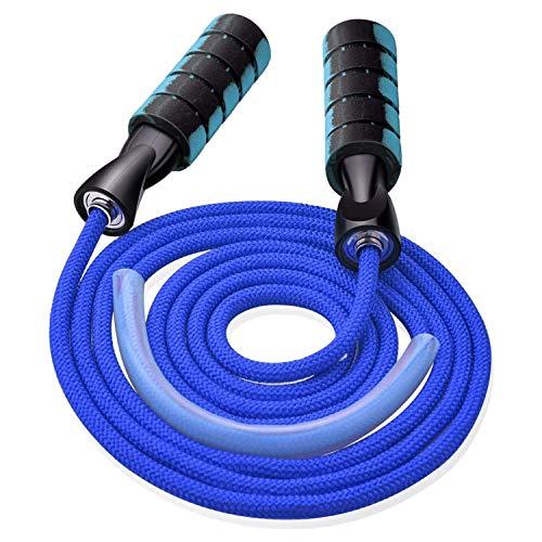 MICHETT Springseil Speed Rope Fitness Springseil Einstellbar Baumwolle Seilspringen Skipping Rope für Professioneller Sport Training Geeignet (Blau)