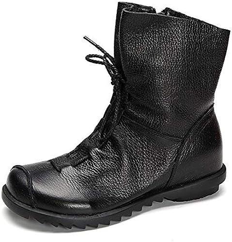 ZHRUI Lace Up Zipper mujer botas Flat Tobillo Cuero Vintage Soft zapatos (Color   negro, tamaño   EU 41)