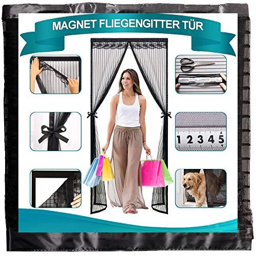 Timizi Fliegengitter Magnet Balkontür 95x185cm, Insektenschutz Mückenschutz Tur Klettband Selbstklebend Moskitonetz Magnetischer Automatisches SchließEn, für Balkontür Terrassentür. - Schwarz