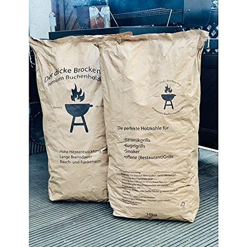 Dicker Brocken Mix 10 kg Buchen-Holzkohle Grillkohle 60-180 mm Steakhaus Qualität 1,99/1 Kg