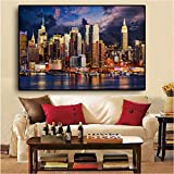 yyyyaa Exquisito Marco de Pintura de Lienzo Sunset Clouds New York Manhattan HD Imprimir Pintura al óleo Pintada a Mano decoración del hogar decoración de Arte de Pared
