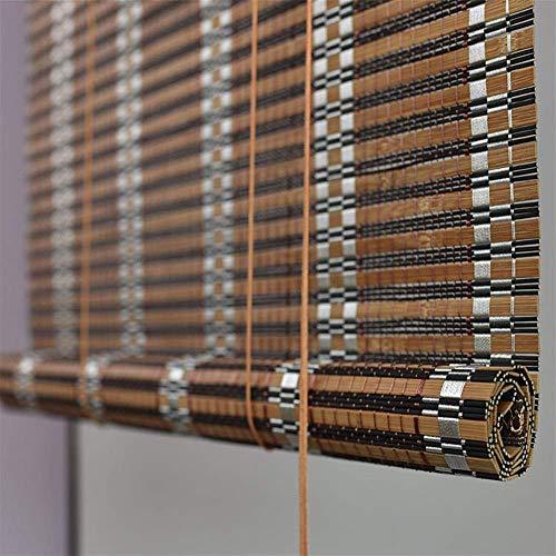 Amiiaz Carbonized Bambusrollo Outdoor Bambus Fensterläden Raffrollo Sonnenschutz UV-Schutz Rollo Holzrollo Patio Pavillon Pergola Veranda Garten Markisen-W 60*H 160cm