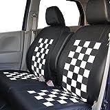 錦産業 スペーシア専用シートカバー ブラック×ホワイト 専用タイプ ハンドルカバー付きSP-4082