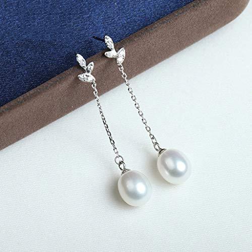 YUHUA-SHOP1983 Aretes En Forma de Gota 925 Perlas de Agua Dulce Pendientes Pendientes de la Perla señoras seleccionada 9-10 mm (Plata y Oro) para Mujeres