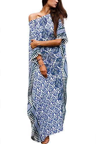 CHERRY CAT Women Beachwear Long Beach Coverups Kaftan Casual Caftan Dress (Ethnic Indigo)