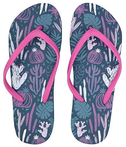Dannii Matthews Damen Flip-Flops mit Blattdruck | Lustige Sommer-/Urlaubs-/Strandkleidung mit tropischem Blatt/Kaktus-Design, Blau - blau - Größe: 36/37 EU