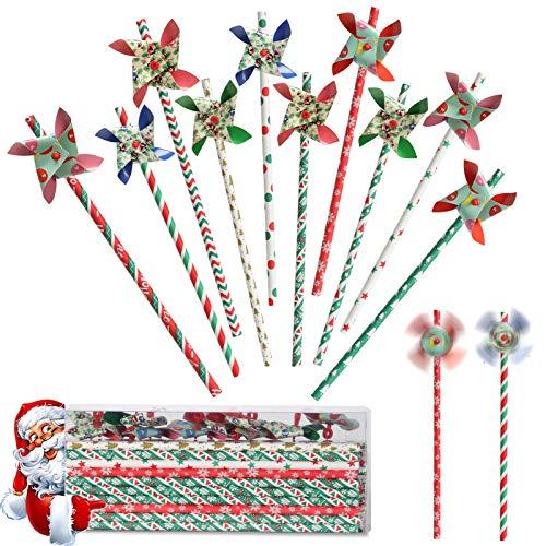 VECELO Papier Strohhalme 100 Stück + 10 Bunt Windmill, Trinkhalme Papier Weiß Rot Grün Umweltfreundlich Einweg-Strohhalme für Weihnachten Feier Parteien