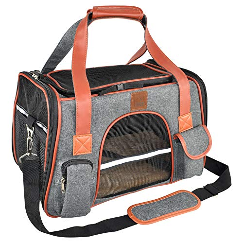 Purrpy Premium Cat Dog Carrier Airline Approved Soft Sided Pet Travel Bag Car Seat Safe Carrier Deep Grey L
