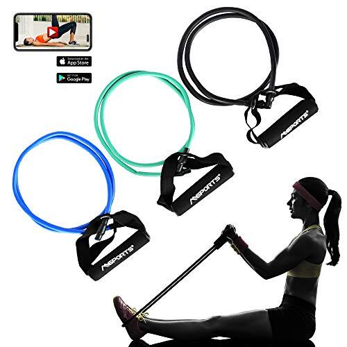 MSPORTS Tube Expander Premium 3er Set | Resistance Band mit Schaumstoffgriffen in 3 versch. Stärken inkl. Workout App | Für Yoga Pilates Fitness Kraft Training