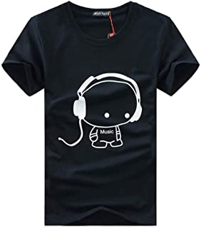 2019 Tee Shirt Men Large Size Clothes Men T Shirt Fashion Printed Cartoon Short Sleeve Music Casual Cotton