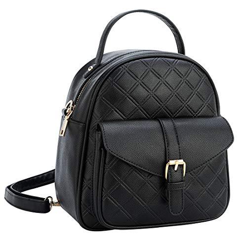 Mini Backpack for Women, Antau Fashion Cute PU Backpack for Girls Travel Daypack Black