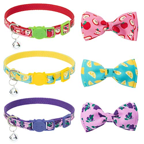 BINGPET Breakaway Bow Tie Cat Collar with Bell - 3 Pack Adjustable Safety Cute Kitty Collars with...