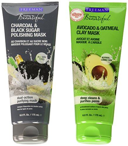 Freeman Feeling Beautiful Charcoal & Black Sugar Gel Mask + Scrub and Avocado Clay Mask, 6-Ounce, 2 Count
