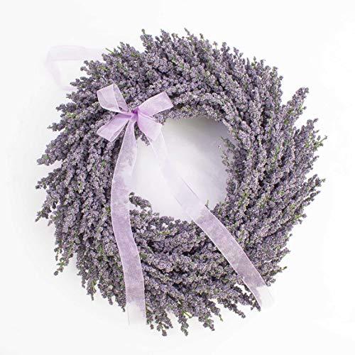 artplants.de Künstlicher Lavendelkranz auf Rattan, violett, Ø 40cm - Kunstlavendel - Deko Kranz für Tür, Tisch oder Wand