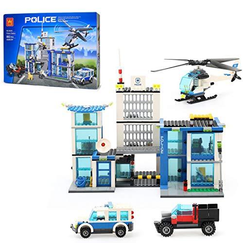 Elroy369Lion Miniestación de policía con figura de coche de policía y helicóptero, 882 piezas, juego educativo SWAT para niños y niñas, 6-12 años