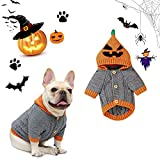 Banooo Halloween Dog Sweater Cute Pumpkin Puppy Party Costumes Dog Hooded Knitwear Warm Pet Sweater for Fall Winter (M, Grey)
