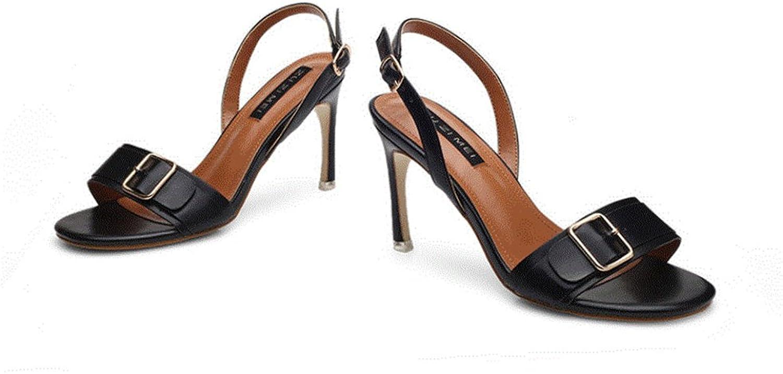 CHENGLing Women's Open Toe Single Buckle Slim High Heel Sandals Mother shoes