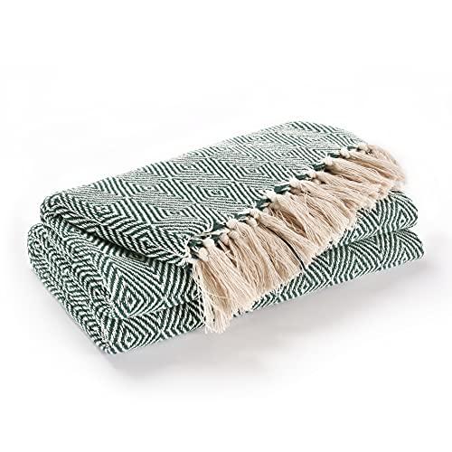 EHC Luxury Reversible Superweiche Baumwolle Diamond Large Throw für Sofa, Doppelbett, Sessel - Hunter Green, 150 x 200 cm