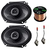 Car Speaker Combo of 2X Kenwood 720-Watt 6x8 Inch 2-Way Custom Fit Coaxial Car Audio Speakers Bundle with 2X Metra Speaker Harness for Select 1989-Up Ford Vehicles + Enrock 50ft 16g Speaker Wire