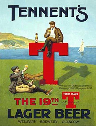 Ecool Placa de Pared con diseño de la Cerveza de los Tennent's The 19th T Lager Glasgow Golf Retro Shabby Chic Estilo Vintage Enmarcado, Estilo Vintage (A4)