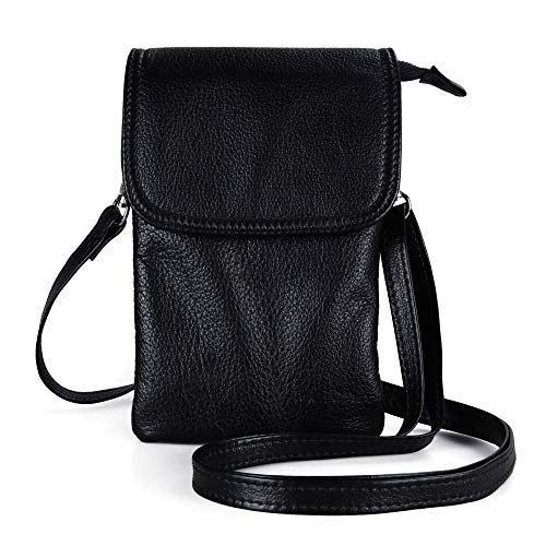 befen Small Black Leather Cell Phone Holder Case Crossbody Wallet Purse Mini Smartphone Shoulder Pouch Bags for Women