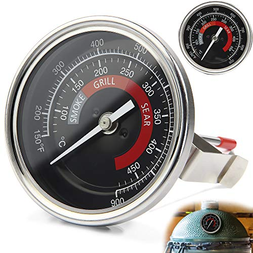 Upgrade Grill Temperature Gauge for Big Green Egg, 3.3inches 150-900°F Big Dial Temperature Gauge for BGE Thermometer Replacement, with Waterproof and No-Fog Design