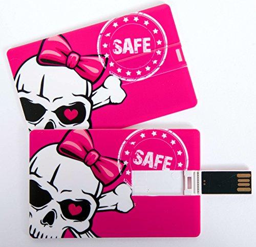 Witziger USB Stick im Visitenkartenformat, Scheckkarte, Kreditkarte, 4 GB, Totenkopf pink mit Schleife, Skull Safe, ideal als Datenspeicher oder Geschenk