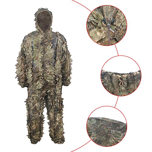 HYFAN Ghillie Trajes 3D Hojas Woodland Camuflaje Ropa Ejército al Aire Libre Ropa Militar Camo para Jungle Hunting, Paintball, Airsoft, Fotografía de Vida Silvestre, Halloween