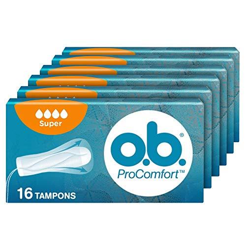 o.b, Assorbenti Interni, ProComfort Super, Flusso Intenso, Inserimento e Rimozione Facile, 6 Confezioni da 16pz