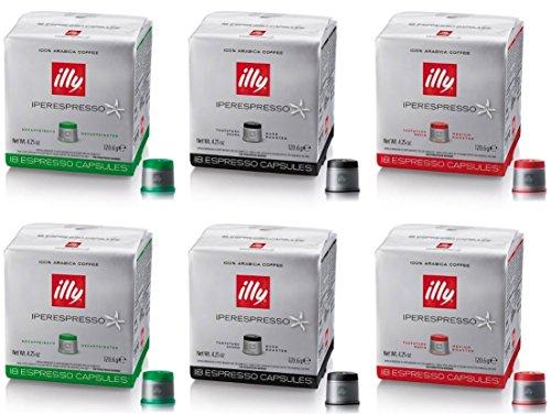 Illy Capsule 2 confezioni Verdi Decaffeinato, 2 confezioni Rosse, 2 Confezion i Nero -108 CAPSULE TOTALI