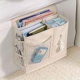 Cicilin - Bolsa de almacenamiento para mesita de noche, con bolsillos para cama, portátil, control remoto, organizador para colgar en la cama, con 6 bolsillos, organizador para sofá, color beige