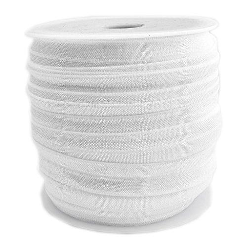 INSPIRELLE 50 Yards Spool Wedding White 5/8 Ribbon Elastic Foldover Elastics Stretch FOE for Hair Ties Headbands Making