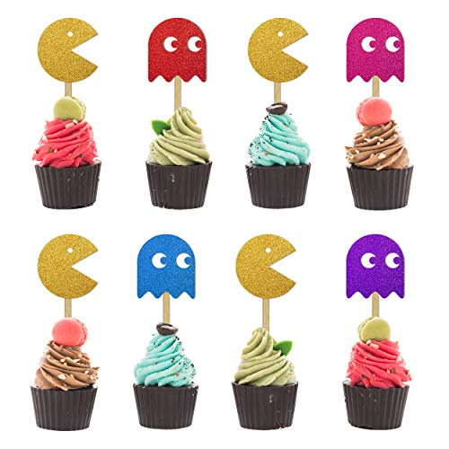 Pac-Man Cup Cake Toppers. The video game everyone remembers playing! Ideal for adding an 80s gaming theme to your party food.