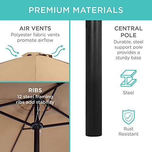Best Choice Products 15x9ft Large Double-Sided Rectangular Outdoor Aluminum Twin Patio Market Umbrella w/Crank - Beige