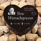 LASERfein Grabherz Granit mit edler Wunschgravur, Herz Sternenkind 13x11x2cm