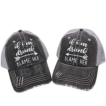 If I m Drunk Blame Her  Set of 2pcs  Women s Trucker Hat Cap Black/Grey