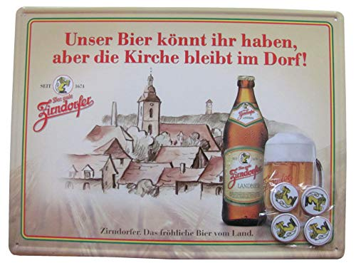 Zirndorfer Brauerei - Das fröhliche Bier vom Land - Blechschild mit 4 Magneten - 35 x 26 cm