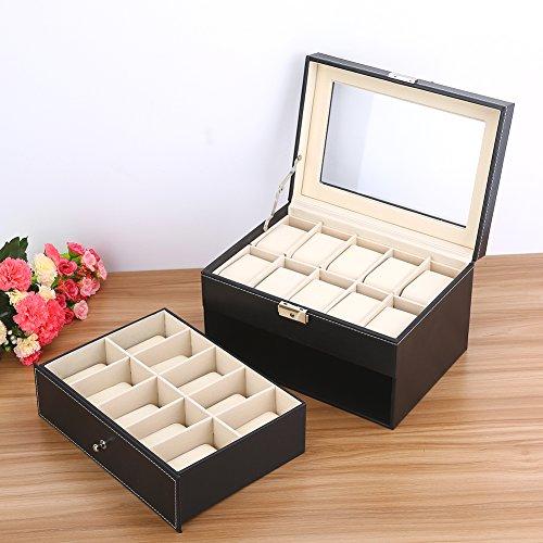 Cikonielf Caja de relojes moderna con interior de terciopelo suave y 20 ranuras para relojes y cojines para evitar el polvo y arañazos de relojes y joyas, 28,3 x 20,3 x 16,6 cm