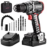 "CARTMAN Cordless Drill, Brushless 20V 1/2""Keyless Chuck Drill Driver, 440 In-lbs Torque, 21+1 Torque Setting, Fast Charger 2.4A, 2-Variable Speed, Built-in LED Impact Drill with 2.0A Battery"