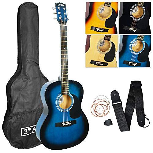 3rd Avenue Pack de guitarra acústica de tamaño estándar 4/4 con juego de cuerdas de acero para principiantes con funda de transporte con púas y cuerdas de repuesto, Blueburst