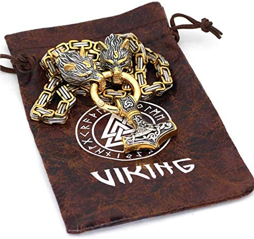 DFWY Men Stainless Steel Wolf Head Mjolnir Pendant Viking Necklace,Norse Pirate Odin Thor's Hammer Amulet King Chain,Gothic Vintage Charm Pagan Jewelry (Color : Mixed Color, Size : 70CM)