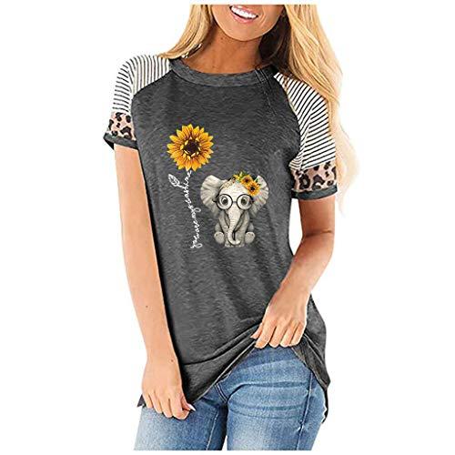 WGNNAA Damen Crewneck T-Shirt Elegant Oberteile Sommer Kurzarm Shirt Streifen Patchwork Sport Shirt Atmungsaktiv Hemden Casual Tops Leopard Drucken Übergroße S-3XL