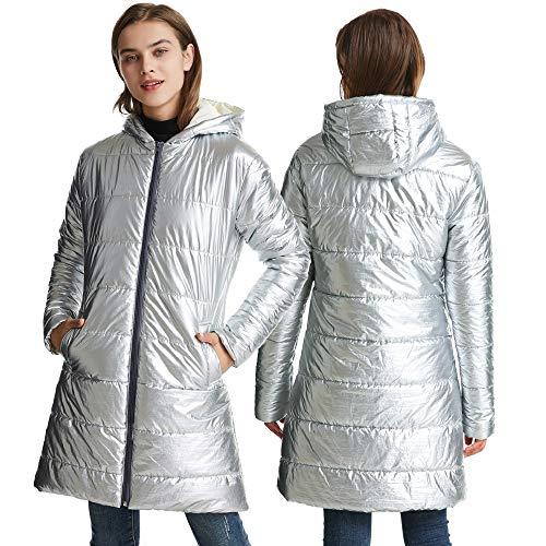 CBBI Chaqueta Larga de Mujer Abrigo de Invierno Abrigo de plumón Plateado Chaqueta Delgada con Capucha