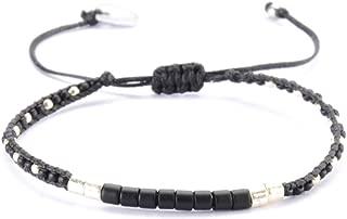 Beaded Friendship Seed Bead Bracelet with Adjustable Closure - Black