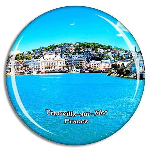 Weekino Trouville-Sur-Mer Francia Le Bac de Trouville Imán de Nevera 3D de Cristal de la Ciudad de Viaje Recuerdo Colección de Regalo Fuerte Etiqueta Engomada refrigerador