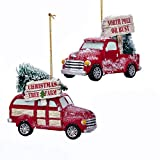 Kurt Adler Cozy Cottage Truck Rosy Red 6 inch Resin Stone Christmas Ornaments Set of 2
