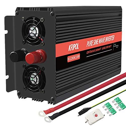 KRIPOL 1000w Spannungswandler Reiner Sinus Wechselrichter 12v 230v mit EU Steckdose und LED-Anzeige&USB-Port- Kabellose Fernbedienung-Spitzenleistung 2000 Watt